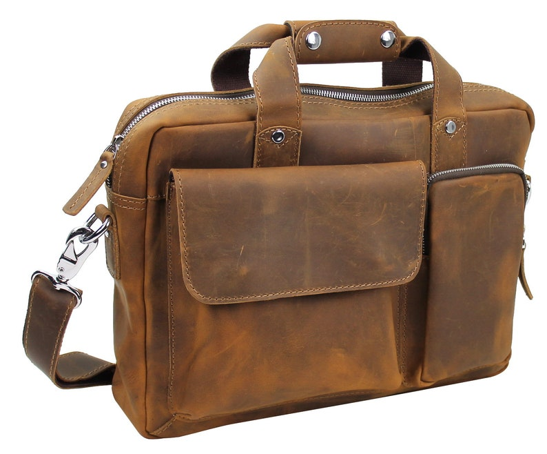 Free Customize Engrave Letters or Initials on Cowhide Leather Casual Messenger Laptop Bag L23