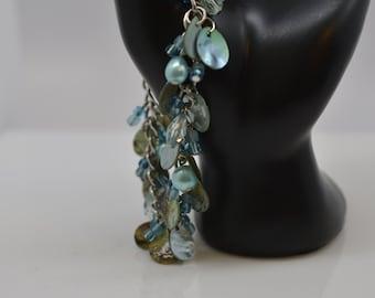 Cha Cha Bracelet Beaded Charm Bracelet Beach Inspired Blue Shell Beads Bracelet