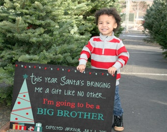 christmas pregnancy announcement holiday pregnancy announcement baby 2 big brother sign big brother printable digital file