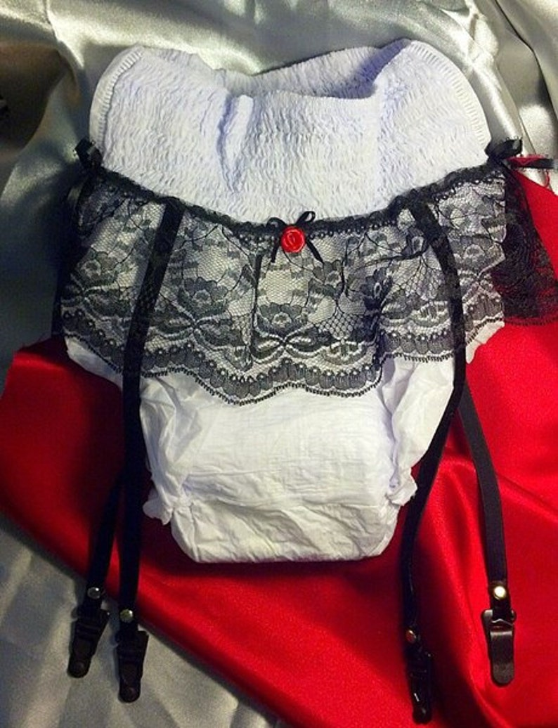 Gag Gift Adult Diaper With Lace Garter Straps Over The