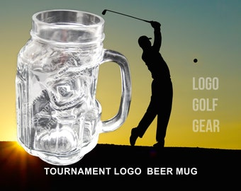 Logo Beer Glass for Golfer, Golf Tournament Trophy, Custom Engraved Golf Bag Mug, Gift Under 20, Logo Golf Gear for Business