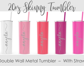 Stainless Steel Tumbler with Straw - Bridesmaid Gift- Personalized Stainless Steel Cup- Skinny Tumbler- 20 oz Double Wall Tumbler with Straw