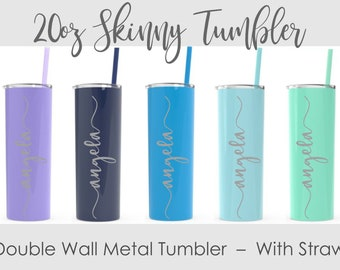 Engraved Stainless Steel Tumbler with Straw - NOT a Cheap Sticker- Personalized Stainless Cup- Skinny Tumbler- 20 oz Double Wall Tumbler