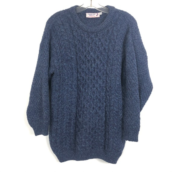 Scottish Blue Cable Knit Fisherman 100% Wool Sweat