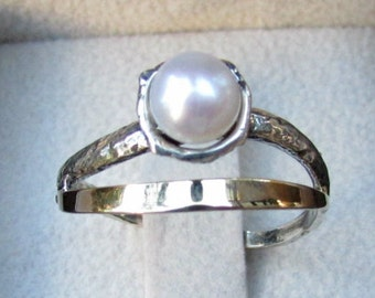 Jewelry ring, silver and gold ring, womens rings, unique ring,pearl ring, two tone ring, gift for her,gold silver ring