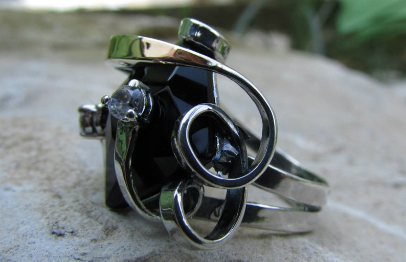 spring jewelry sale Two tone ring,cocktail rings,artisan ring,silver ang gold ring,unique ring,women ring,black onyx ring