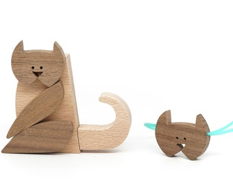 Cat and pendant, wooden design gift