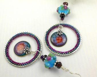Handmade lampwork earrings, Hoop earrings, ooak lampwork earrings, beaded hoop earrings, boho earrings, Lightweight earrings