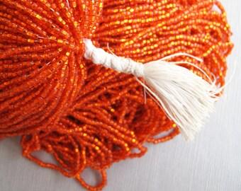 Vintage Venetian Seed Bead Hot Bright Orange Silver Lined Square Hole 10/0 - SB-54-O-02
