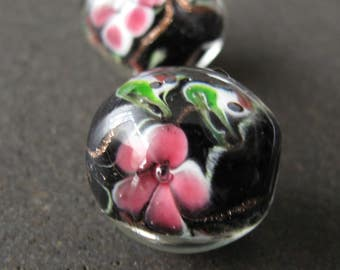 2pcs Vintage Glass Beads 18mm, Lampwork Round Black Sommerso Beads With Pink Flowers - B-09MCFS-151