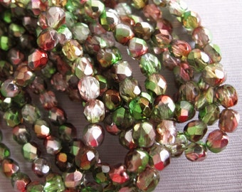 40pcs Czech Fire Polished Glass Beads, Green and Reddish Bronze Czech Faceted Beads 6mm - B-08G-157, Czech Glass Beads