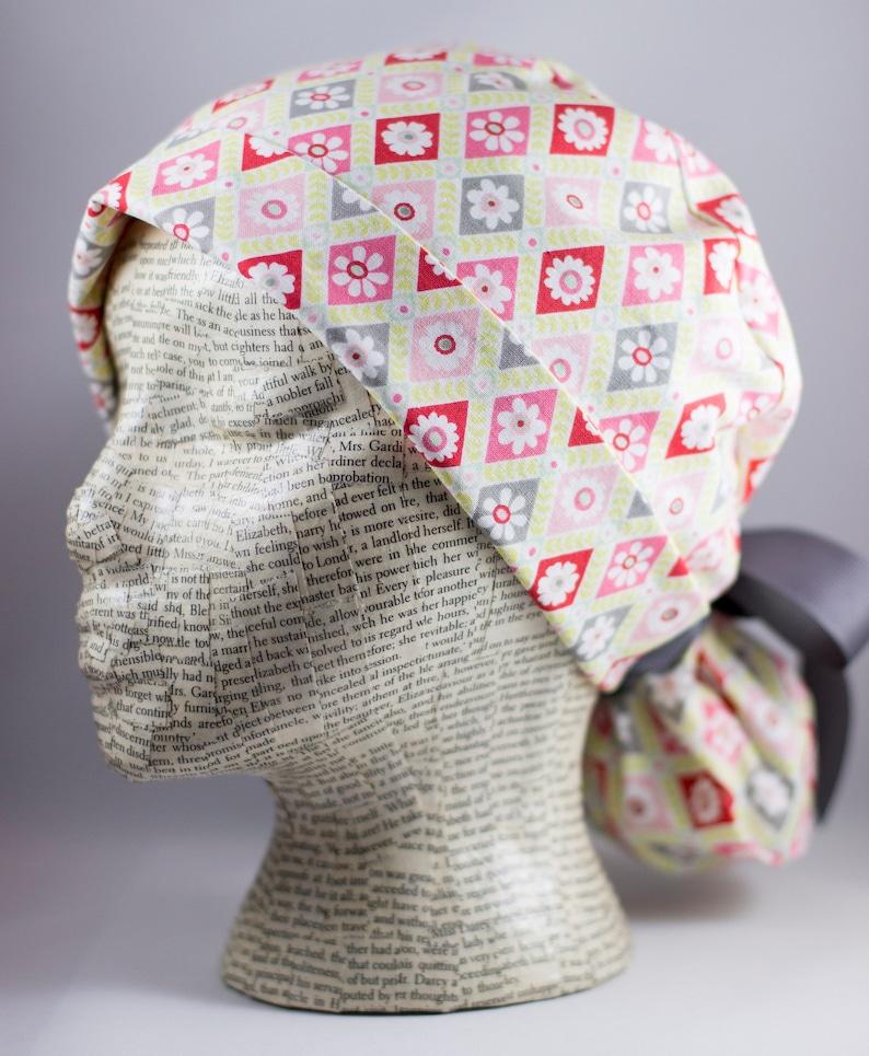 0936f1f9215 Womens Scrub Cap Ponytail Pink Green and Grey Diamonds