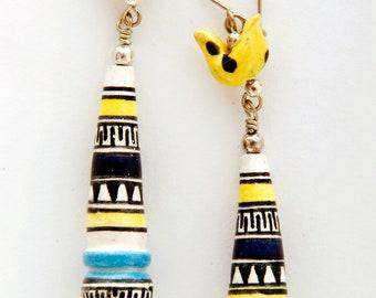 Fairtrade jewelry earrings clay beads, bird beads, dangly, ceramic hand painted, yellow, blue, white, boho, ethnic, 65mm, Peru (P1013)