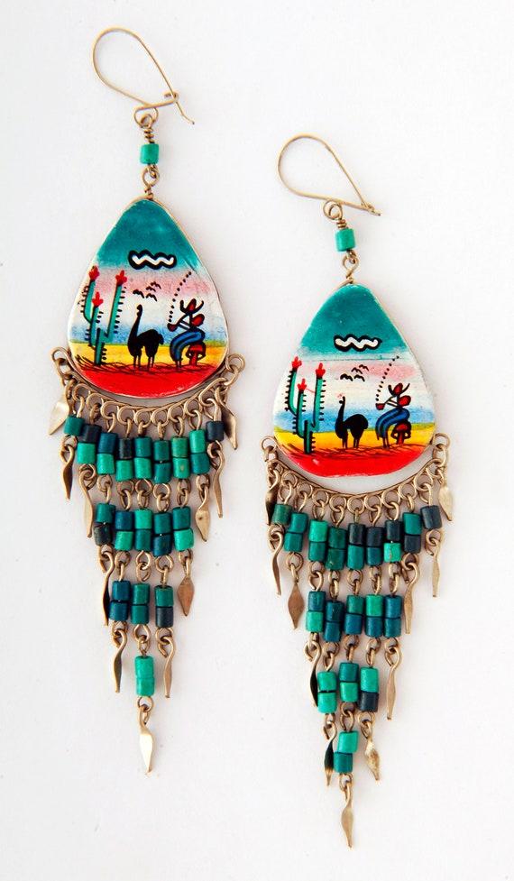 35mm llama llamas Fairtrade jewelry earrings clay beads P1024 dangly peruvian earrings ceramic hand painted beads Peru