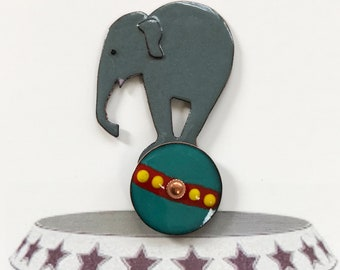 Enamel on Copper Button Circus Star Elephant Bella Balances on Turquoise Ball, Movable