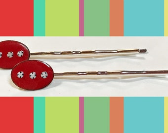 Pair Hair Pins Dotted Red Enamel