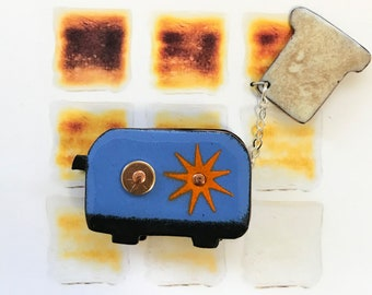 Enamel on Copper Blue Vintage Toaster with Pop-Up Toast Movable Button