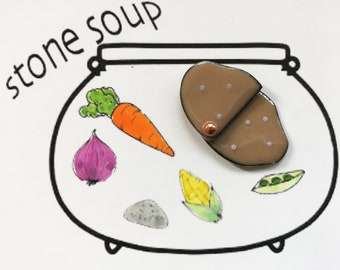 Enamel on Copper Potato Button Inspired by Stone Soup Folk Tale, Movable and Verbal