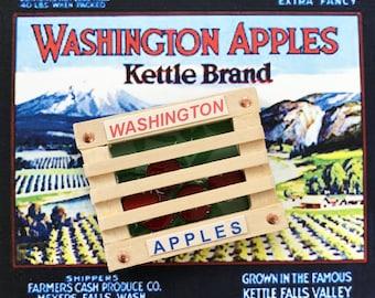 Washington Apples Enamel on Copper Movable Button