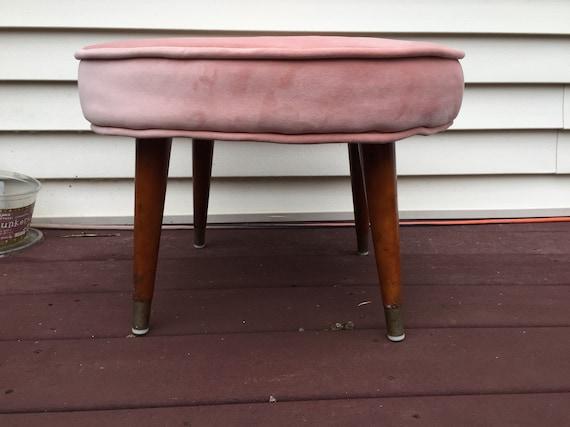 Super Blush Pink Velvet Ottoman Footstool Restored Creativecarmelina Interior Chair Design Creativecarmelinacom