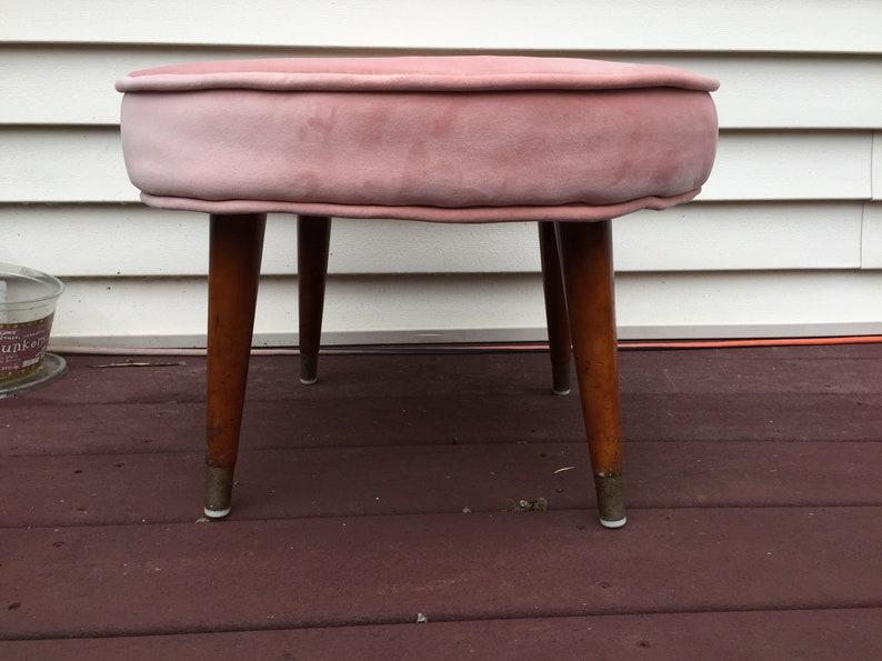 Blush Pink Velvet Ottoman Footstool restored