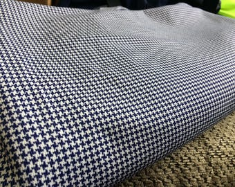 Vintage Double Knit Yardage Navy White houndstooth fabric sewing craft