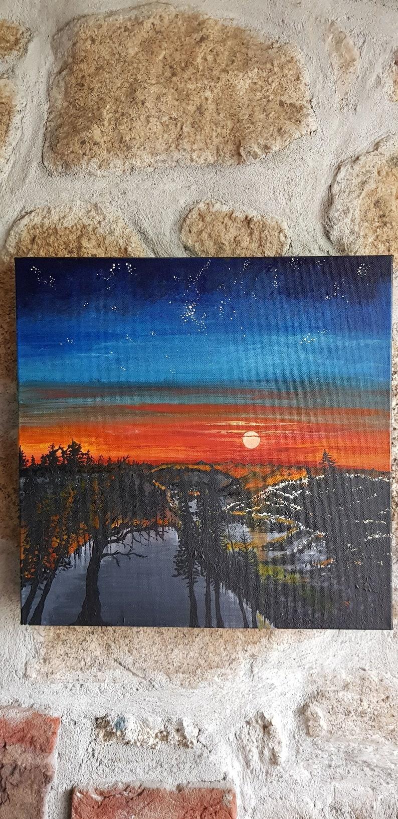 Acrylic Paint Stars, Original Artwork Trees Sun Stellar Sunset Sky Canvas Twilight