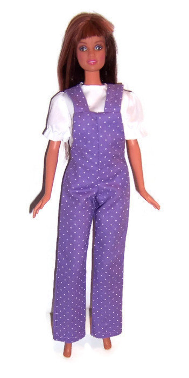 3db6523c92 Lavender Polka Dot Overall & White Blouse-will fit Barbie | Etsy