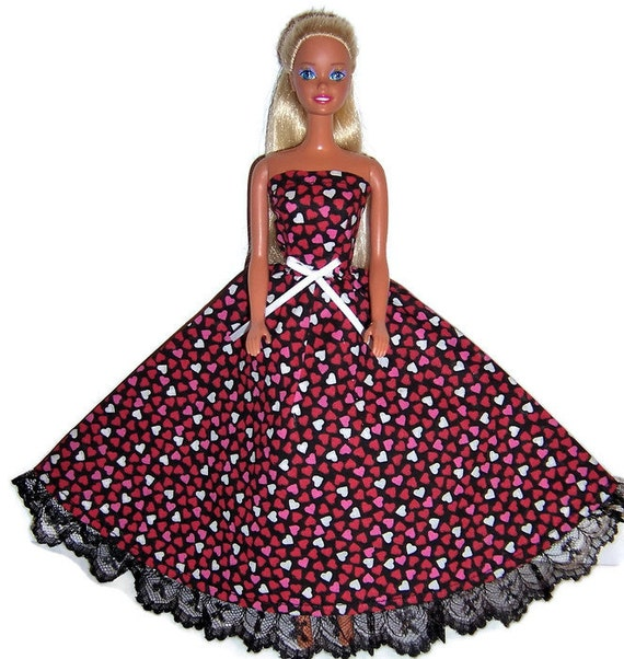 Doll Clothes-Red//Pink Heart Print Strapless Dress