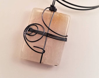 Black Wire wrapped stone pendant with 18 neck ring
