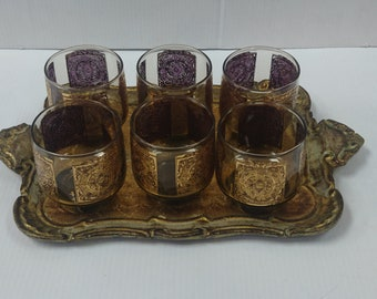 Set of 6 Vintage Glasses and Wood Tray Hand Painted in Italy by Eclyda