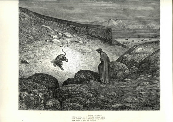 1903 Gustave Dore Engraving From Dante S Inferno Book Illustration Black And White Metal Engraving Wall Art Print Antique Wall Decor