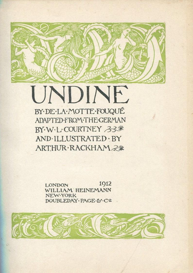 Original Antique Book Plate by Rackham Arthur Rackham Undine Antique Print From a 1st Edition Dated 1912 Arthur Rackham Print
