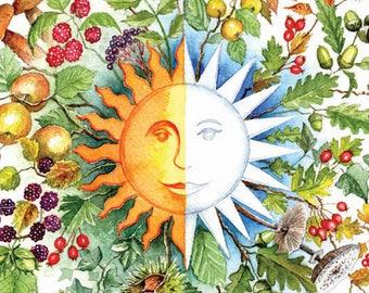 Autumn Equinox Roundel Card, Mabon, Alban Elfed, watercolour, digitally printed