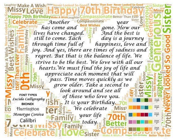 70th Birthday Gifts Personalized Gift