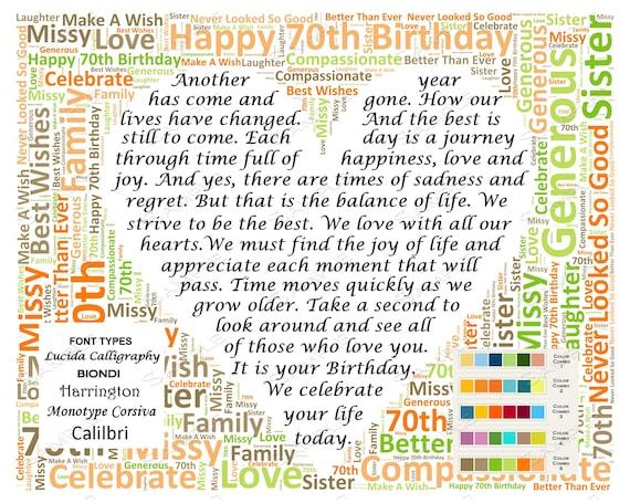 70th Birthday Gifts Gift For Mom Grandma Poem