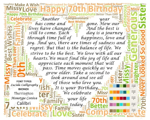70th Birthday Gifts Personalized Poem Gift For