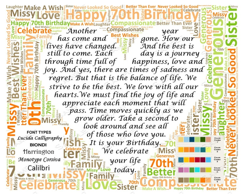 70th Birthday Gifts Personalized Poem Gift For Her Him Mom Dad Grandma Grandpa 8 X 10 DIGITAL DOWNLOAD JPG
