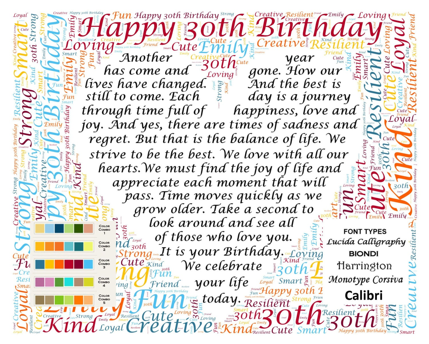 30th Birthday Gifts, Thirty, Gift for Her, Him, Daughter, Son, Friend 8 X  10 Print