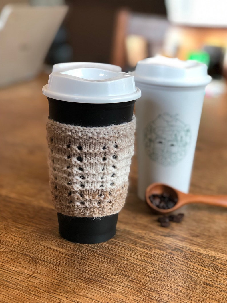 Hand Knit Wool Cup Cozy in Variegated White and Brown image 0