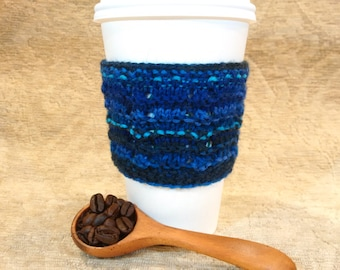 Hand Knit Wool Coffee Cup Sleeve, or Cup Cozy, in Variegated Blue