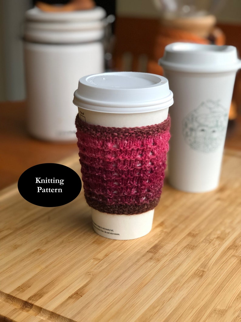 Knitting Pattern for a Cup Cozy or Cup Sleeve in Garter Stitch image 0