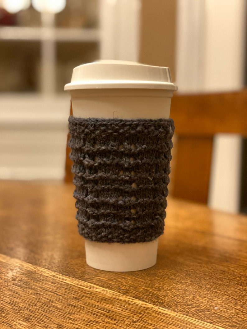Hand Knit Wool Cup Cozy or Sleeve in Grey image 0