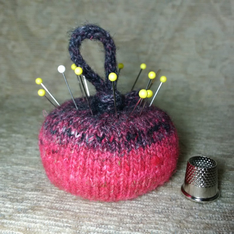 Wool & Silk Pincushion in Gradient Pink and Black image 0