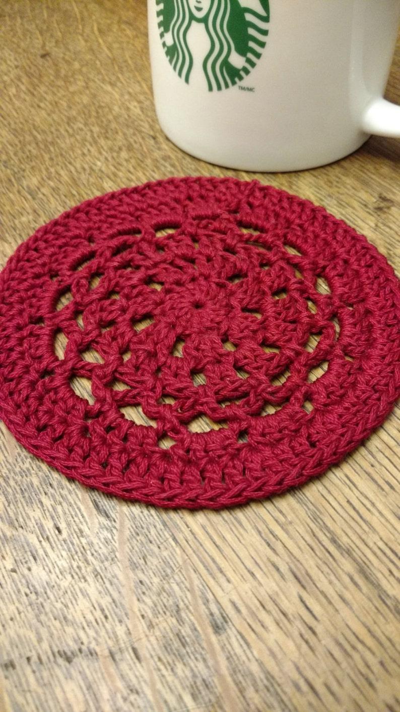 Crochet Doily Mug Mat or Mug Rug in Red Cotton image 0