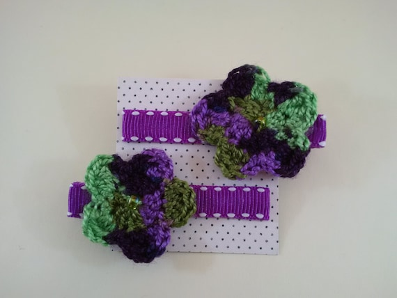 Set of Crochet Flower Hair Clips in Dark Purple, Light Purple, and Green