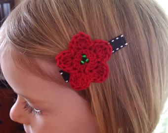 Set of Crochet Flower Hair Clips in Red, Black, and White