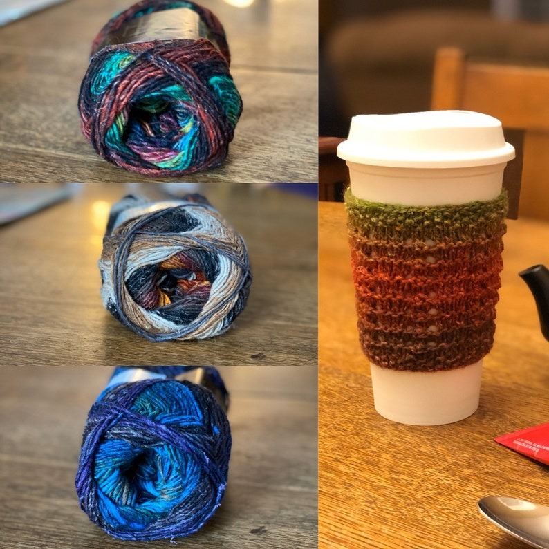 Grab Bag Color for a Hand Knit Wool Cup Cozy or Sleeve in image 0