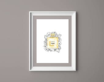 Fashion illustration print Chanel perfume