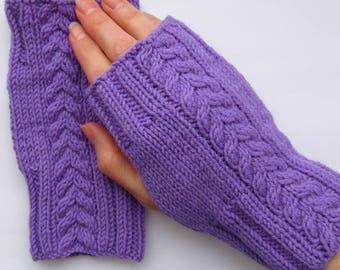 fingerless mittens, purple fingerless mittens, fingerless gloves, purple mitts, purple mittens, knitted mittens, texting mittens